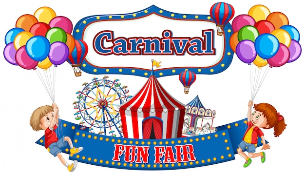 Colorful carnival funfair banner with boy and girl