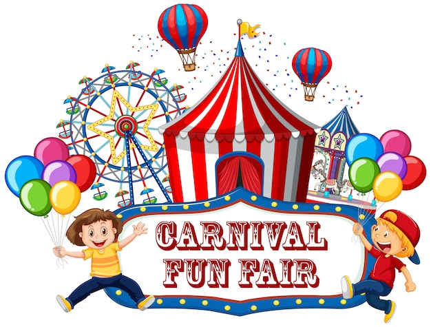 Colorful carnival funfair banner