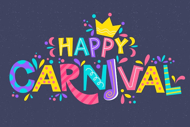Colorful carnival lettering with greeting