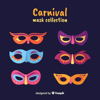Colorful carnival mask collection
