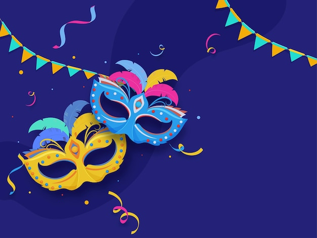 Colorful carnival masks with confetti and bunting flags on blue background.