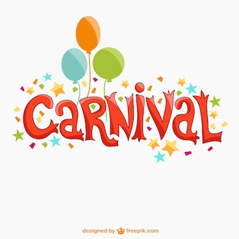 Colorful carnival text with balloons