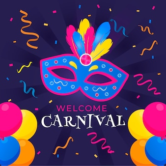 Colorful carnival with mask and confetti