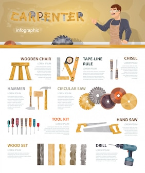 Colorful carpentry infographic template