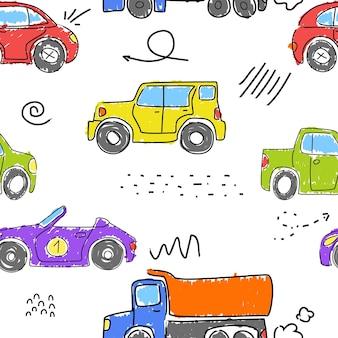 カラフルな車がマーカーで描かれています。面白い車。シームレスな背景。手描きのベクトル。