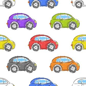 マーカーで描かれたカラフルな車。面白い車。子供部屋を子供用品、布地、背景、パッケージ、カバーのかわいいシームレスパターンで飾るためのベクター手描きコレクション。