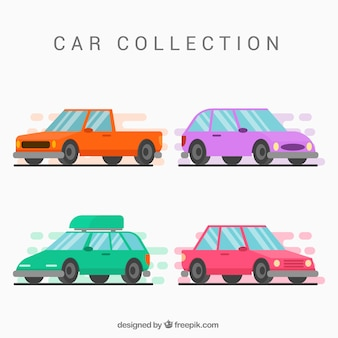 Colorful cars with flat deisgn