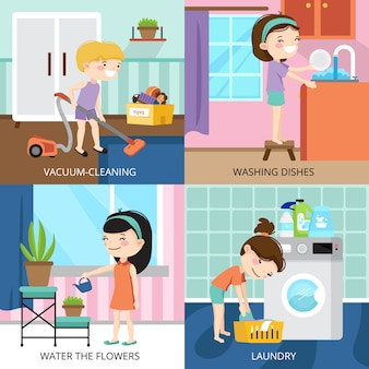 Colorful cartoon 2x2 design concept with kids cleaning house isolated vector illustration
