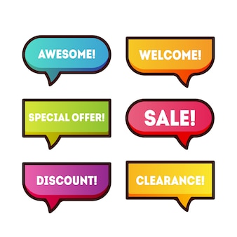 Colorful cartoon banners set for logo, sale promotion, discount title frame.