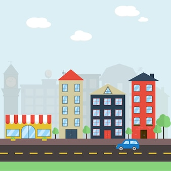 Colorful cartoon city landscape with road and houses
