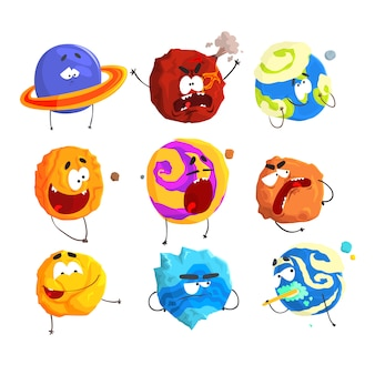 Colorful cartoon detailed vector illustrations isolated on white