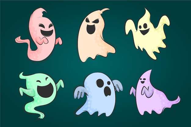 Colorful cartoon halloween ghost collections hand drawn flat illustration