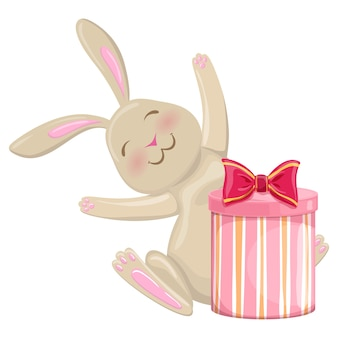 Colorful cartoon illustration of christmas bunny with present on white background.
