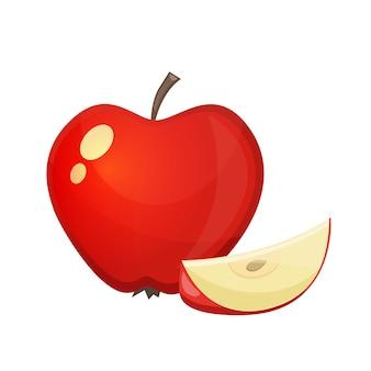 白い背景の上のリンゴのカラフルな漫画イラスト。