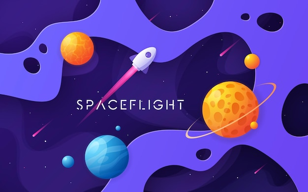 Colorful cartoon outer space background, design, banner, artwork