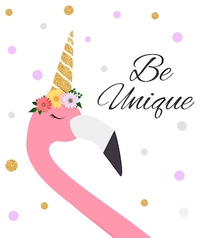 Colorful cartoon pink flamingo on beautiful postcard