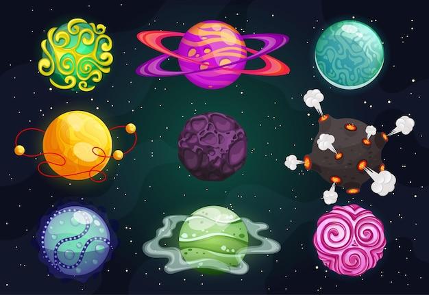 カラフルな漫画の惑星は平らです。宇宙空間の要素。