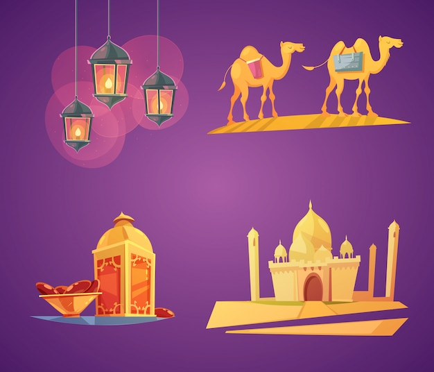 Colorful cartoon ramadan elements card set