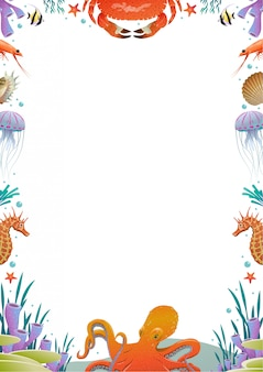 Colorful cartoon sea fauna template
