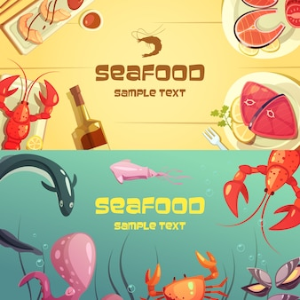 Colorful cartoon seafood banners illustration