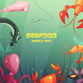 Colorful cartoon seafood illustration