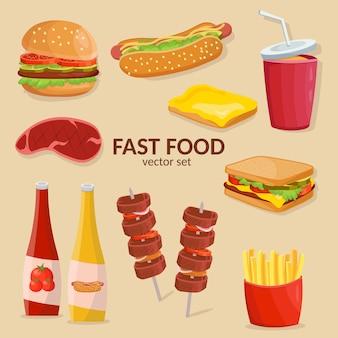 分離されたファーストフードのアイコンのカラフルな漫画セット。ケチャップ、ソース、マスタード、フライドポテト、ハンバーガー、ジャガイモ、ホットドッグ。