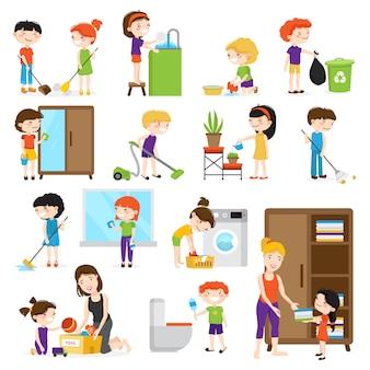 カラフルな漫画の部屋を掃除し、白い背景のveに分離された彼らの母を助ける子供たちと設定