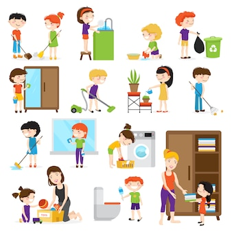 Colorful cartoon set with kids cleaning rooms and helping their mums isolated on white background ve