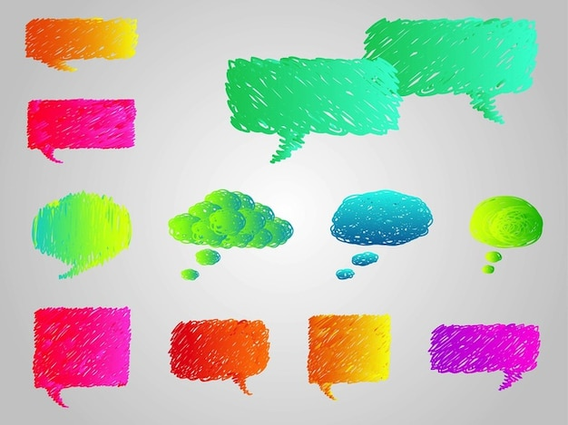 Colorful cartoon speech bubbles vector