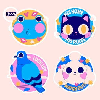 Colorful cartoon stickers collection