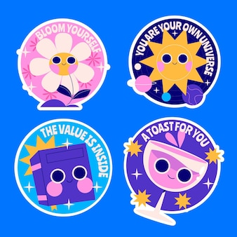 Collezione di adesivi colorati dei cartoni animati