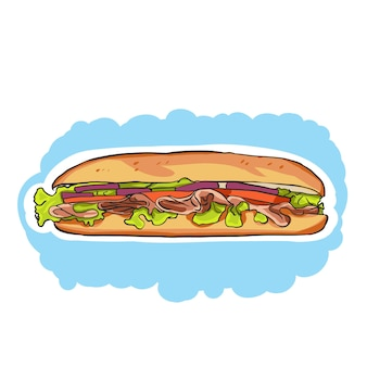 A colorful cartoon sub sandwich with lettuce,tomato,meat,and cheese