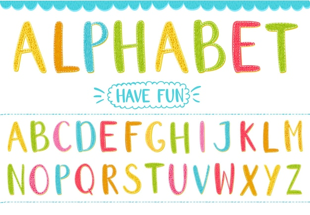Colorful cartoon vector letters with hand drawn texture latin alphabet for kids and funny designs