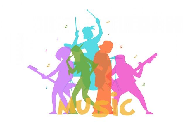 Colorful cartoony silhouettes