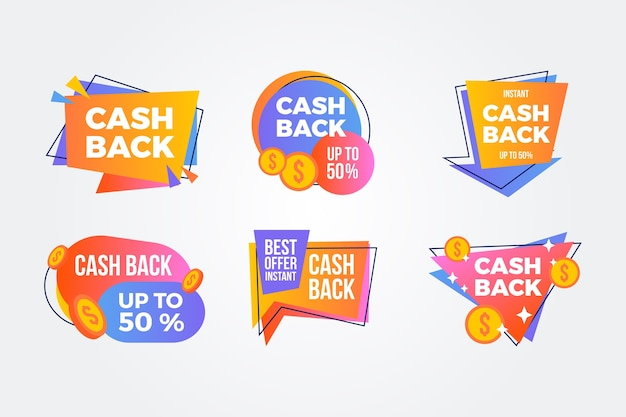 Colorful cashback labels pack