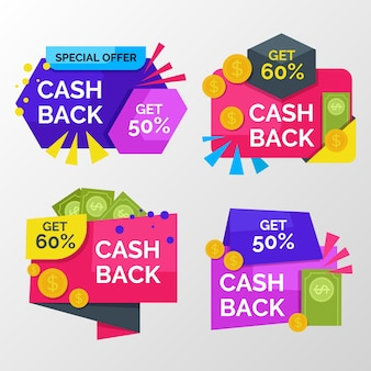 Colorful cashback labels with discount
