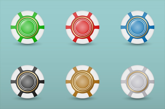 Colorful casino chips icon set on a blue  with transparent shades.  illustration.
