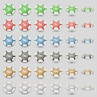 Colorful casino chips icon set on a white  with transparent shades. colored playing chips in different angles.3d . high detailed realistic illustration.