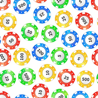 Colorful casino chips isolated on white seamless pattern