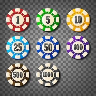 Красочные фишки казино на прозрачном фоне