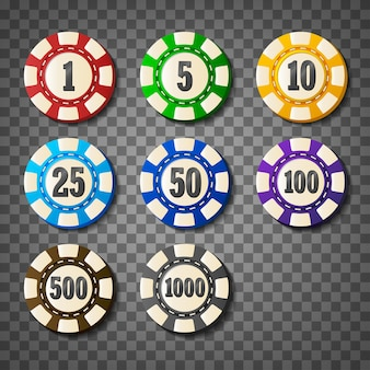 Colorful casino chips on transparent background