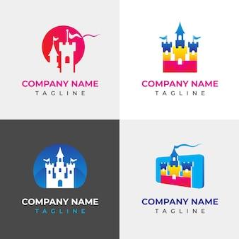 カラフルな城のロゴコレクション