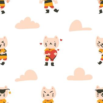 カラフルな猫のキャラクターのシームレスなパターン