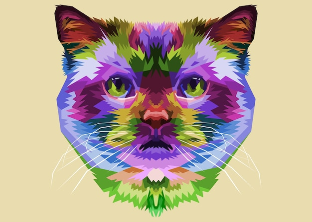 Colorful cat head on pop art style