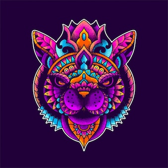 Colorful cat illustration, mandala zentangle and tshirt design