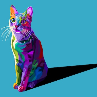 Colorful cat isolated on blue background.  illustration.