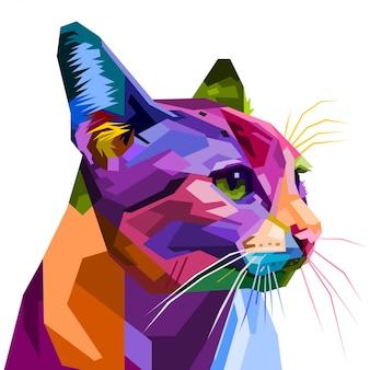 화려한 고양이 흰색 배경에 고립입니다. 삽화.