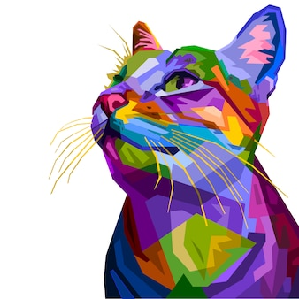 Colorful cat isolated on white background.  illustration.