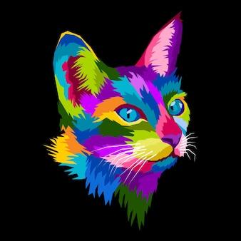 Красочный портрет кошки поп-арт