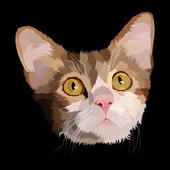 カラフルな猫のポップアートの肖像画